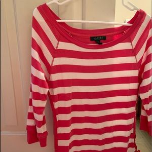 Ralph Lauren pink and white striped top size M